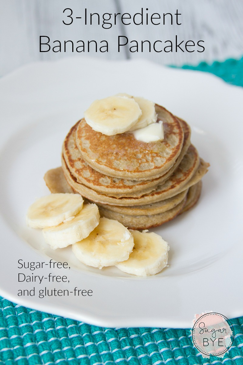3-Ingredient Banana Pancakes - You'll never believe how simple these are but they taste amazing! Sugar-free, Dairy-free, and gluten-free too!