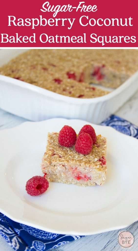 Sugar-Free Raspberry Coconut Baked Oatmeal Squares